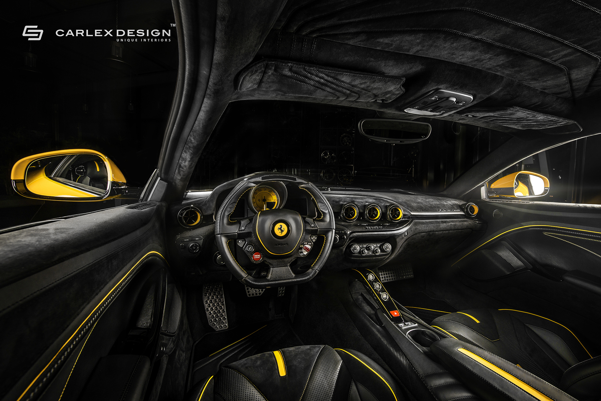 carlex design gives yellow ferrari f12 a new interior autoevolution. Black Bedroom Furniture Sets. Home Design Ideas