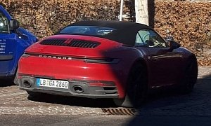 Carmine Red 2020 Porsche 911 Cabriolet Spotted on the Street, Looks Retro