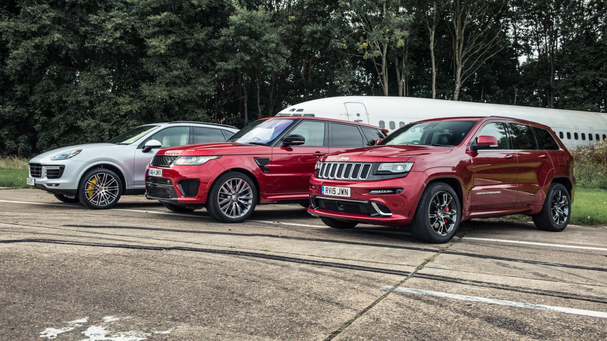 Cayenne turbo takes on rr sport svr and jeep grand cherokee srt in drag race