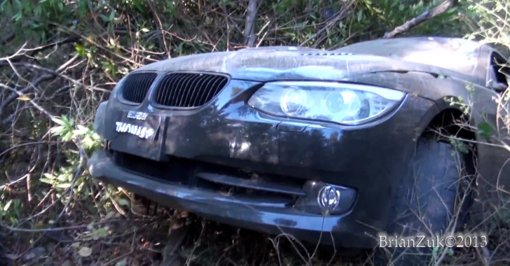 Check Out the Aftermath of Jumping Off a Cliff with a BMW 335i [Video]