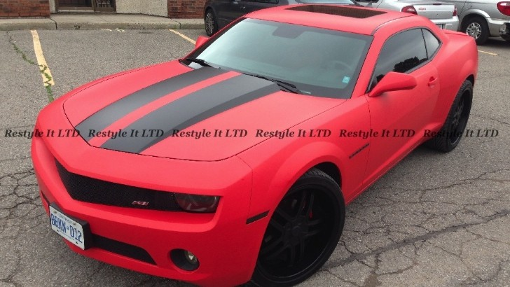 Chevrolet Camaro Gets Matte Red Wrap from Restyle It [Photo Gallery]