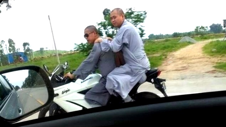 Chinese Monks on a Kawasaki Ninja