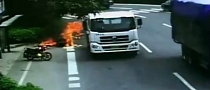 Chinese Scooter Clipped by Truck and Set Ablaze, Rider Included [Video]
