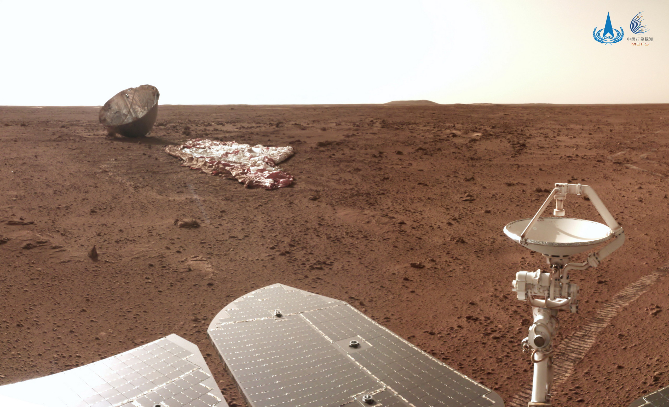 Chinese Zhurong Rover Finds Its Dusty Parachute and Backshell on Mars - autoevolution