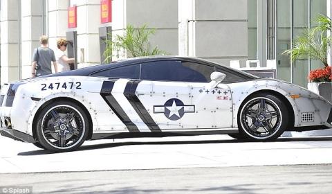 Chris Brown Dresses His Lamborghini Gallardo as Fighter Jet