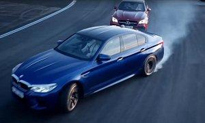 Chris Harris Races Business Stig: BMW M5 vs. Mercedes-AMG E63