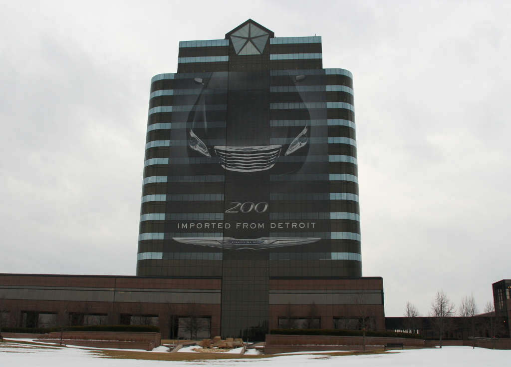 chrysler hq wrapped in 2011 chrysler 200 billboard. Cars Review. Best American Auto & Cars Review