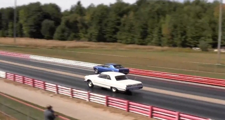 Classic Drag Race: 428 Cobra Jet Mustang vs. Chevy Impala SS [Video]