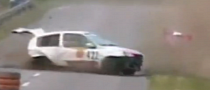 Clio Rally Car Incredible Spinning Crash [Video]