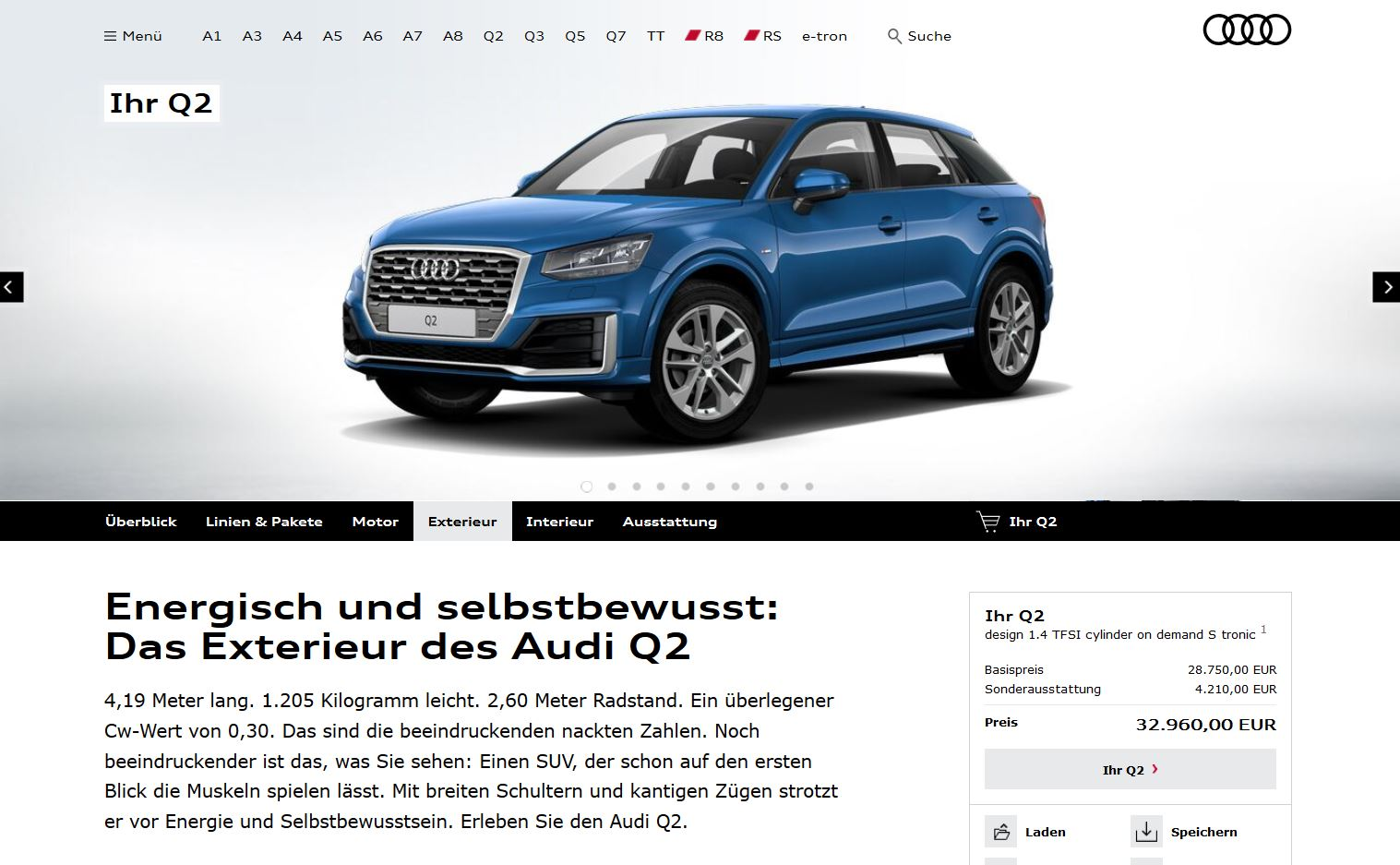 colorful audi q2 configurator launched in germany only 1. Black Bedroom Furniture Sets. Home Design Ideas