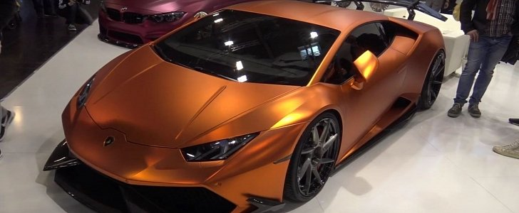 copper wrapped lamborghini huracan gets gaping carbon. Black Bedroom Furniture Sets. Home Design Ideas