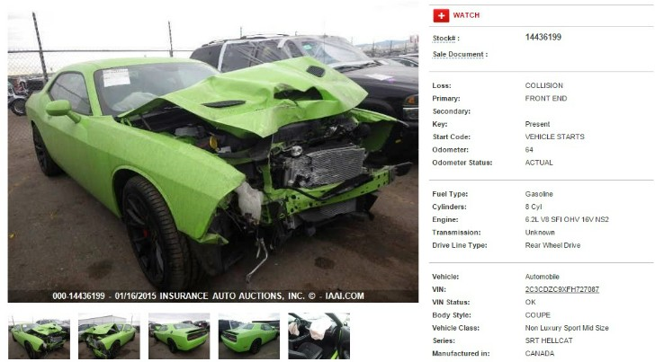 Crashed 2015 Dodge Challenger SRT Hellcat Heading to IAAI Auction – Photo Gallery - autoevolution
