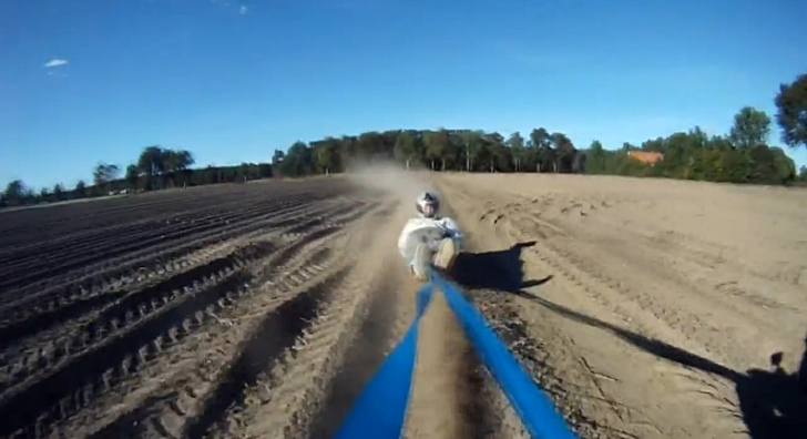 Crazy Dirt Sledding Pulled by MX Bike [Video]