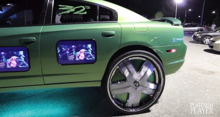 Crazy Dodge Charger on 32s Has TVs in the Doors [Video]