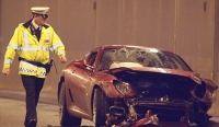 Ronaldo's Ferrari after the crash