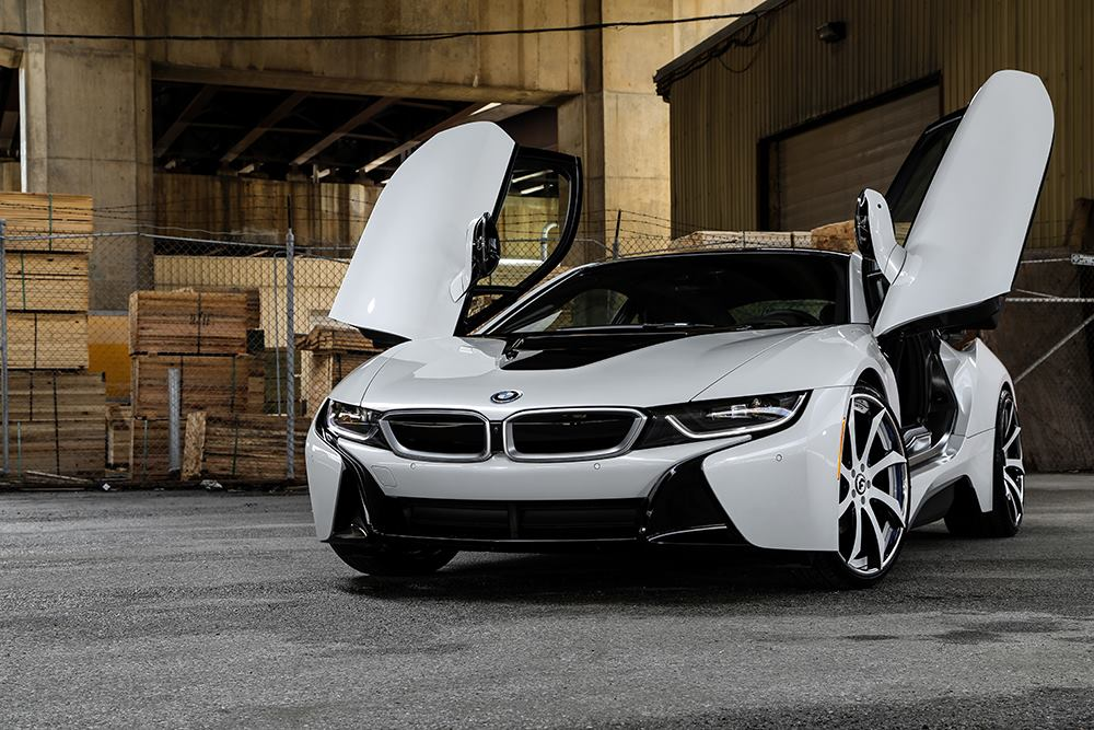 crystal white bmw i8 gets forgiato wheels turns into bruiser