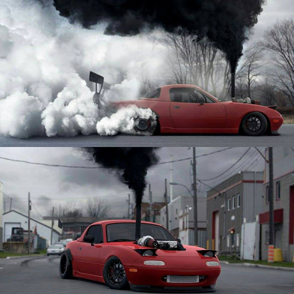 Cummins Diesel Drift Miata Waiting For Your Funding To Roll Coal