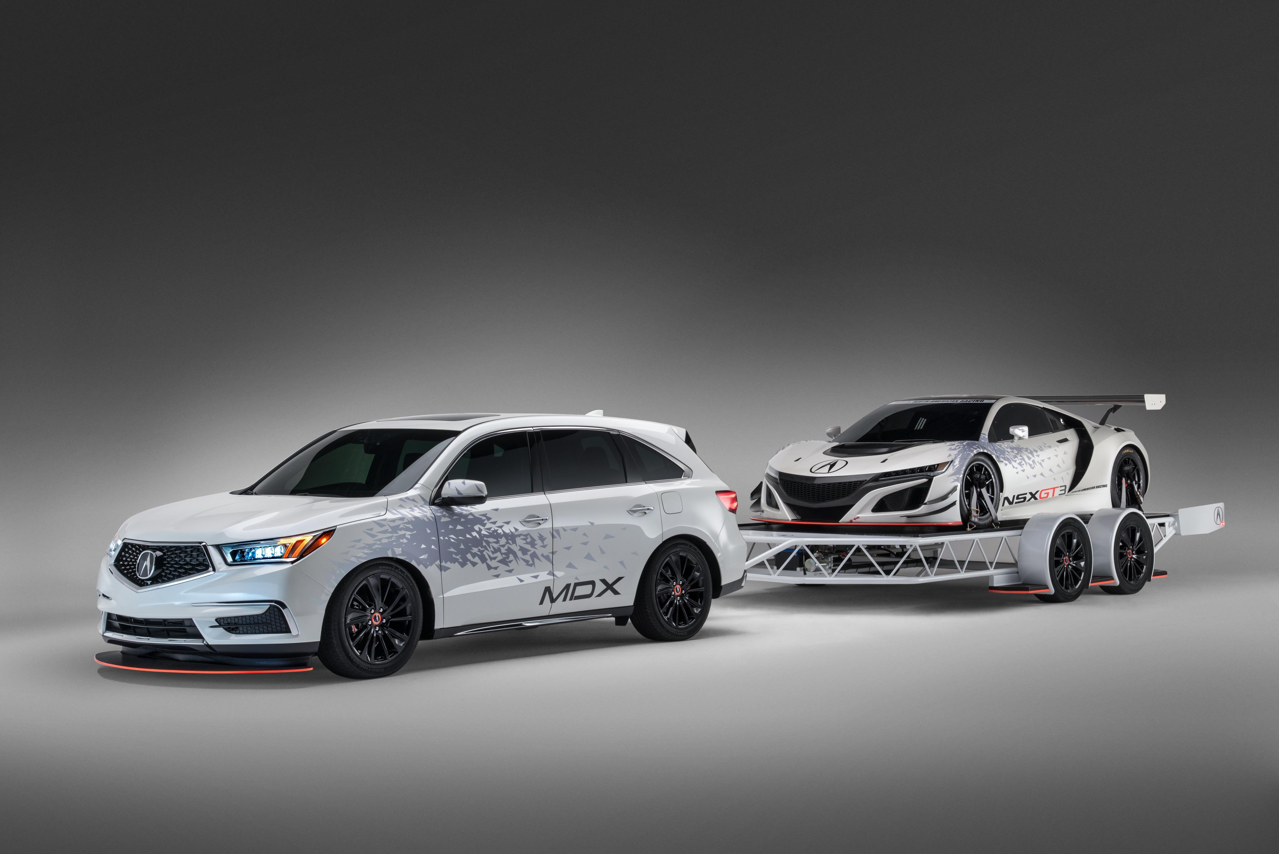 Custom Acura Mdx Towing Nsx Gt3 On Special Sema Trailer Autoevolution
