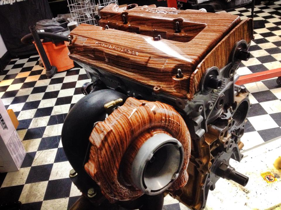 Custom Wood Valve And Turbo Cover Is Pretty Awesome