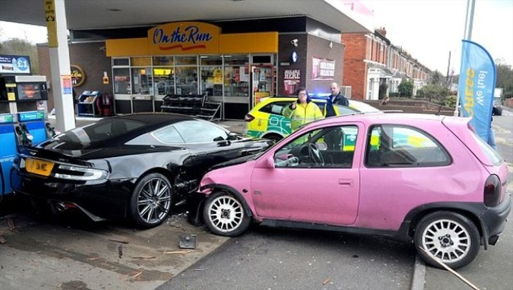 Cute Pink Corsa Crashes into Aston Martin DBS