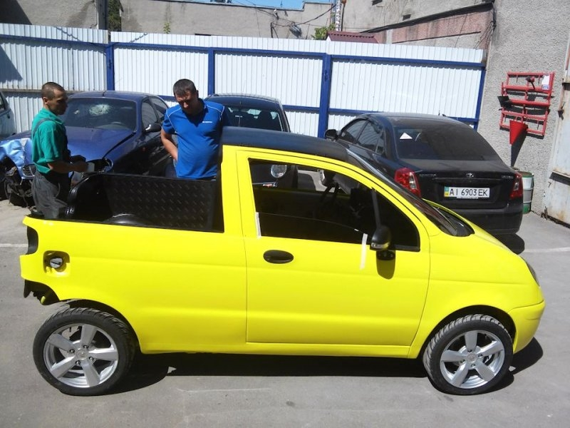 Daewoo matiz turned into mini pickup by creative russians autoevolution