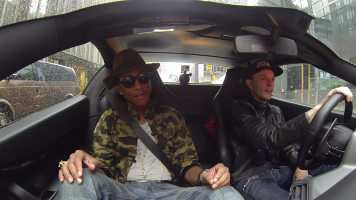Deadmau5 and Pharrell Go for Coffee in Ferrari [Video]