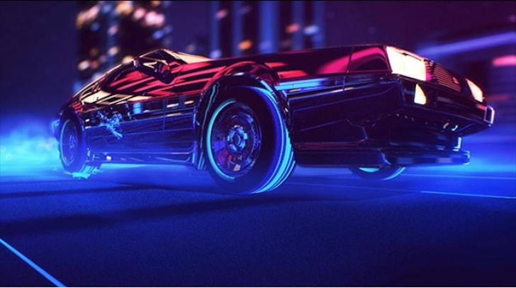 Delorean Stars In Neon Colored 80s Style Mood Film