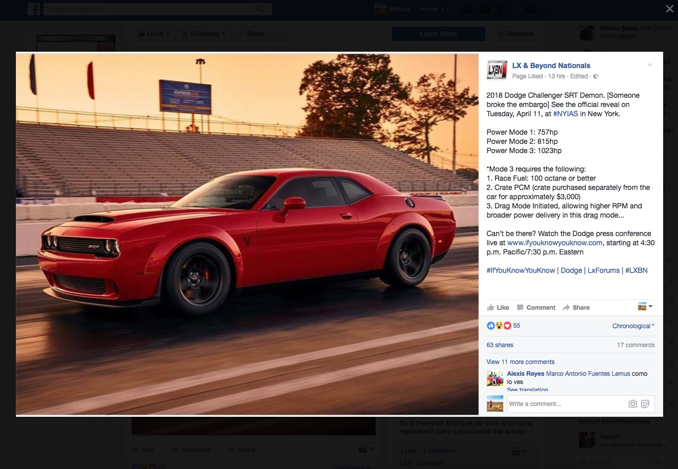 2018 Dodge Challenger Srt Demon Reportedly Offers 1 023 Hp In Power