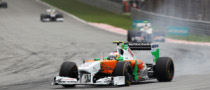 Di Resta Hit By Chunks of Pirelli Tires in Malaysia Race