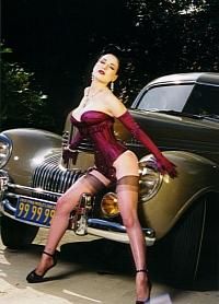 Dita Von Teese with her '39 Chrysler New Yorker