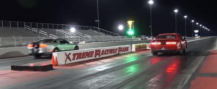 Dodge Challenger Demon Drag Races Ford Mustang GT500, Gets ...