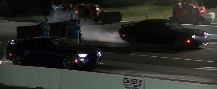 Dodge Challenger Hellcat Drag Races Chevrolet Camaro Ss