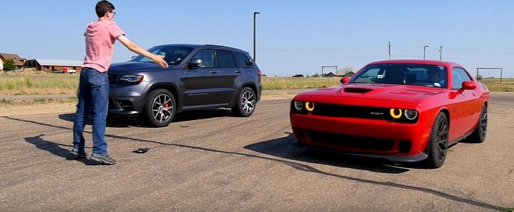 Mopar Mayhem: Dodge Challenger Hellcat Drag Races Jeep Grand Cherokee SRT