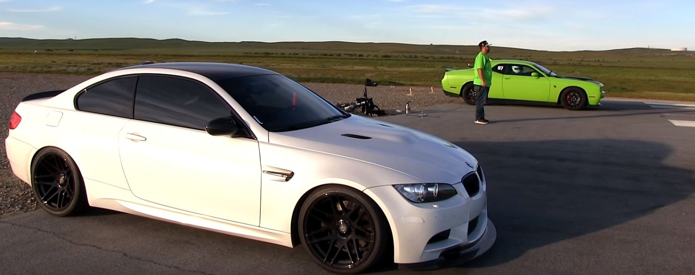 Dodge Challenger Hellcat Drag Races Supercharged E92 Bmw