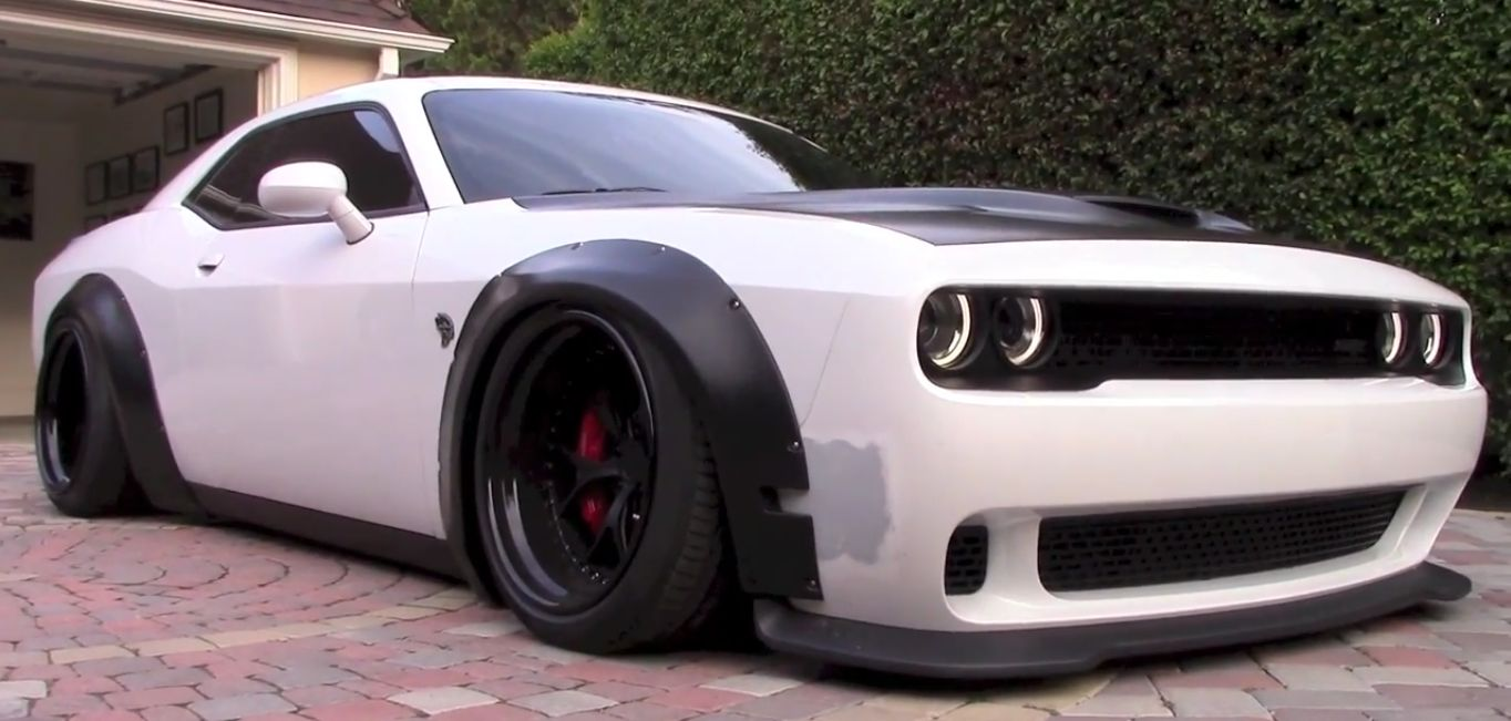 Dodge Challenger Hellcat Gets Liberty Walk Kit And Air Suspension In