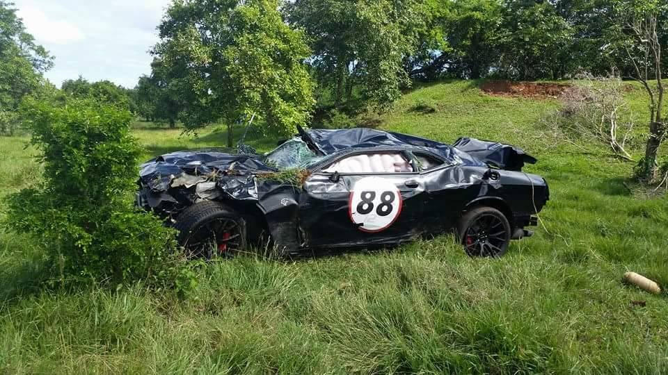 Dodge Challenger Hellcat Looks Flattened After Being Totaled At