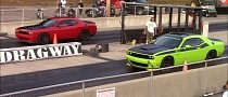Dodge Challenger Hellcat, T/A 392, Mustang GT, Camaro SS Race at the Drag Strip