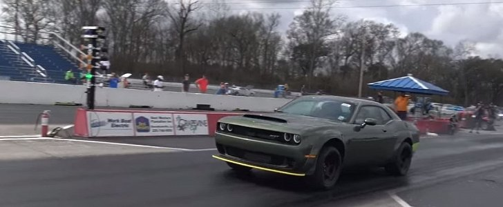 F8 Green Dodge Demon Drag Racing Looks Like A Military