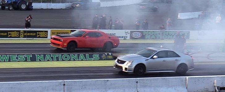 Dodge Demon Drag Races Cadillac Cts V Humiliation Ensues