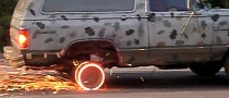 Dodge Ramcharger Does Burnout and... Rim Sparkout?! [Video]