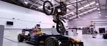 Dougie Lampkin Jumps Bike over F1 Car [Video]