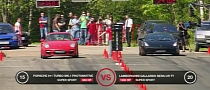 Drag Race Twin-Turbo Gallardo Vs. Switzer 911 [Video]