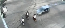 Driver Hits 3 Scooters in One  Blow [Video]