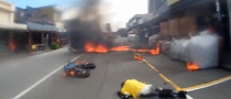 Ducati Crashes, Leaks Fuel, Catches on Fire [Video]