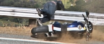 Ducati Monster Motorcycle Crash into Guardrail [Video]