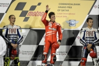 Stoner celebrates the victory in Qatar GP