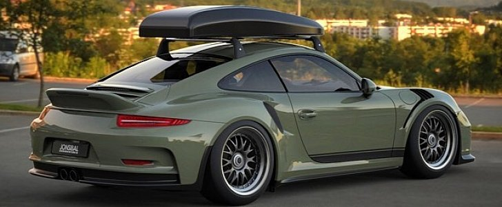 ducktailonly porsche 911 gt3 rs rendered with roof box as
