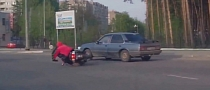 Elderly Russian Scooter Rider Spills [Video]