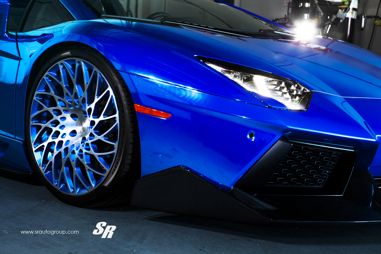 Electric Blue Aventador Gets Outrageous Pur Disc Style Alloys