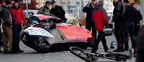Electric Motorcycle Collides with Cyclist in Zero Emission Race